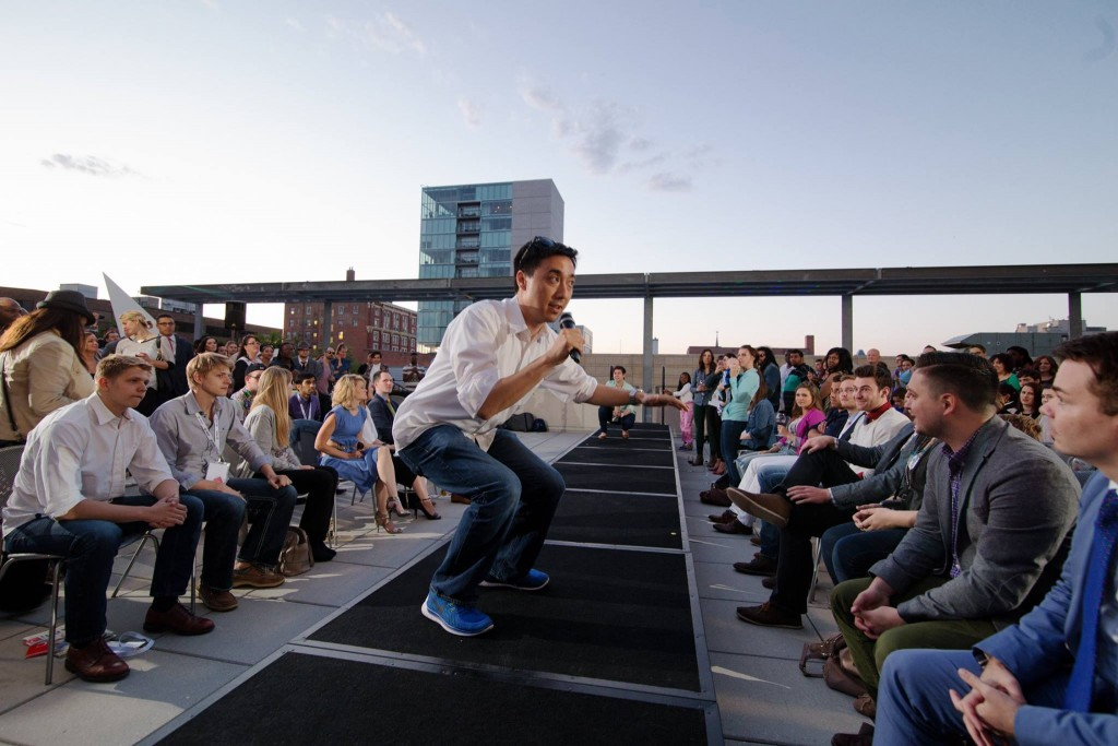 An EntreFEST presented excites a crowd of spectators