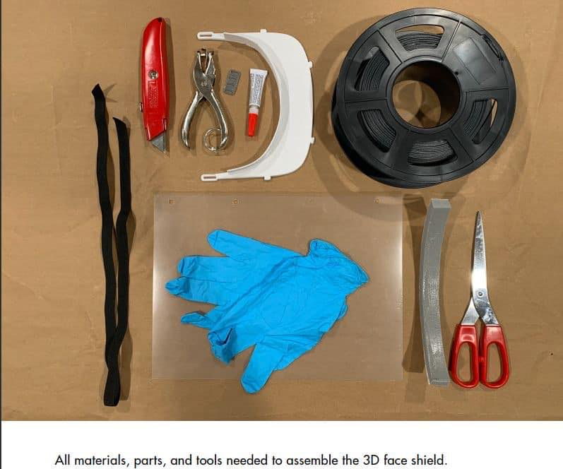 A collection of all necessary materials to make a hybrid face shield