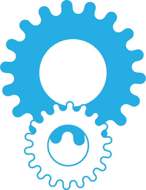 NewBoCo blue gears of entrepreneurship icon