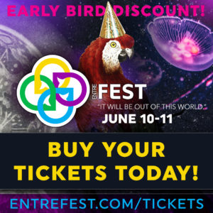 Purple-hued promotional material for EntreFEST 2021 prominently featuring a tropical bird wearing a party hat with a space-inspired background and jellyfish