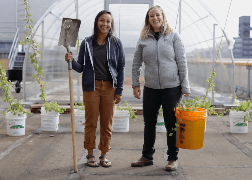 Two business owners stand proudly before their rooftop gardening business.