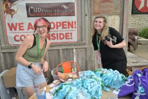 NewBoCo staff Molly Monk and Jessica Abdoney work hard behind the scenes at EntreFEST 2021!
