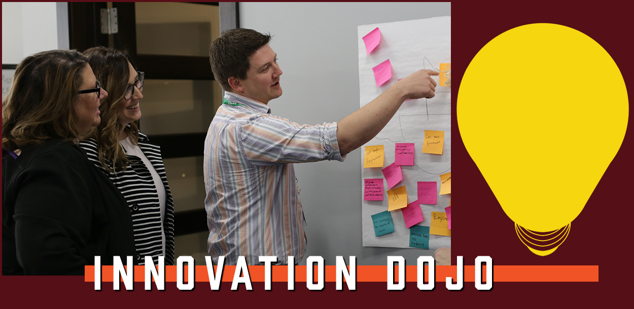 A team works to identify innovative processes at an Innovation Dojo session.