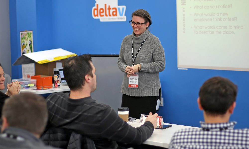 Director of Innovation Services, Jennifer Murphy, discusses psychological safety with a DeltaV cohort